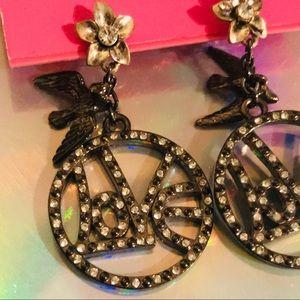 Love dove peace earrings vintage Betsey Johnson